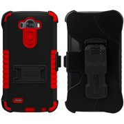 RED TRI-SHIELD KOMBO CASE SKIN COVER BELT CLIP HOLSTER STAND FOR LG G3 PHONE
