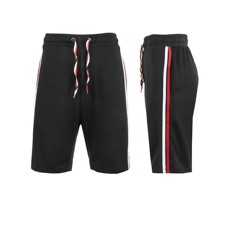 Mens Track Shorts With Side Stripes - Running Shorts Jogging Lounge Gym