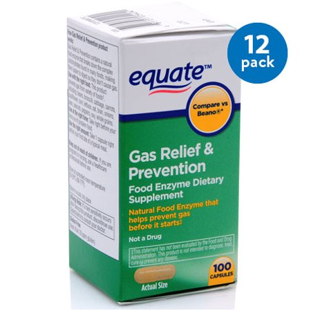 (12 Pack) Equate Gas Relief & Prevention Food Enzyme Dietary Supplement Capsules, 100 Ct