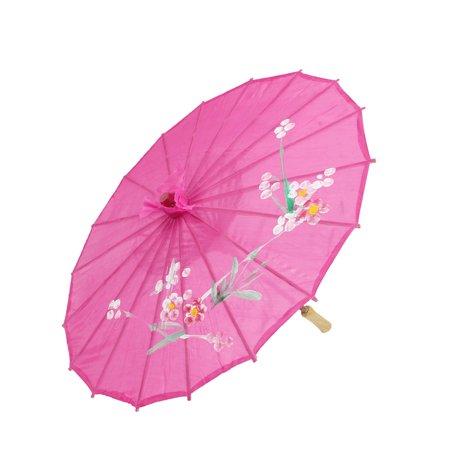 Flower Printed Fuchsia Polyester Bamboo Ribs Folding Parasol Dancing Umbrella - Cheap Parasols