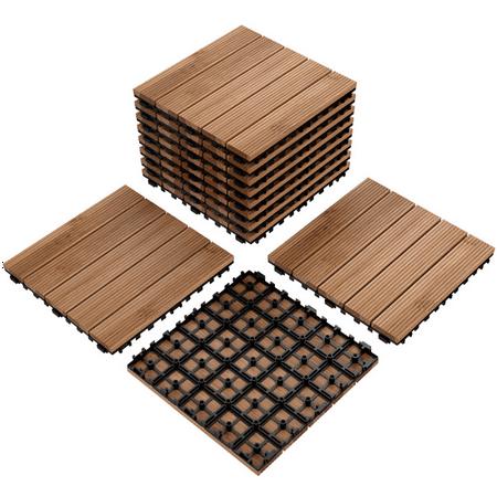 Yaheetech 12x 12''Patio Pavers Decking Flooring Deck Tiles Interlocking Wood Patio Tiles Pack of 11 Tiles For Patio Garden Deck Poolside Indoor and Outdoor,Indoor and