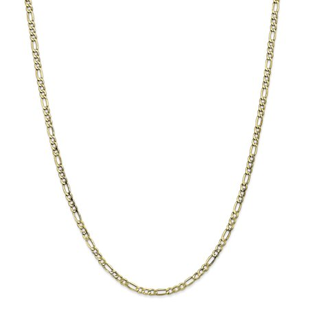 """10K Yellow Gold 3.5 MM Semi-Solid Figaro Link Chain Necklace, 24"""""""