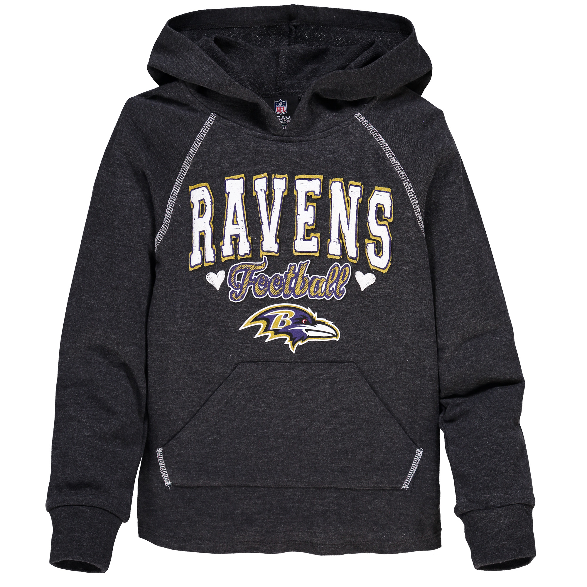 Baltimore Ravens 5th & Ocean by New Era Girls Youth Cutest Fan Tri-Blend Pullover Hoodie - Black