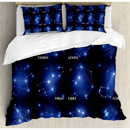 Ambesonne Constellation Zodiac Sign Set Symbols And Names Group Of Stars Cluster Esoteric Duvet Set