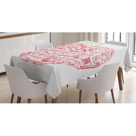 (Educational Tablecloth, Apple with School Symbols Basic Formulas Exercise Study School Theme, Rectangular Table Cover for Dining Room Kitchen, 52 X 70 Inches, Red Forest Green, by Ambesonne)