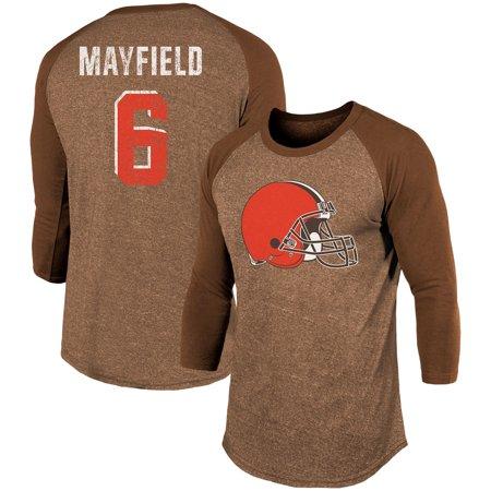 Baker Mayfield Cleveland Browns Majestic Threads Player Name Number Tri Blend 3 4 Sleeve Raglan T Shirt