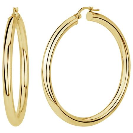 18k Gold Over Sterling Silver Polished Hoop Earrings