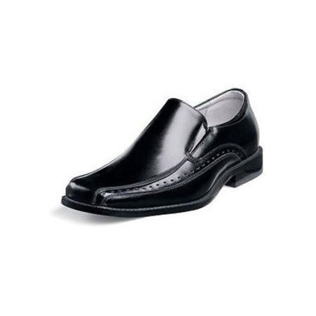 stacy adams danton bicycle toe slip-on uniform dress shoe with elastic double side gore (little kid/big kid),black,5 m us big (Toe Double Gore Slip)