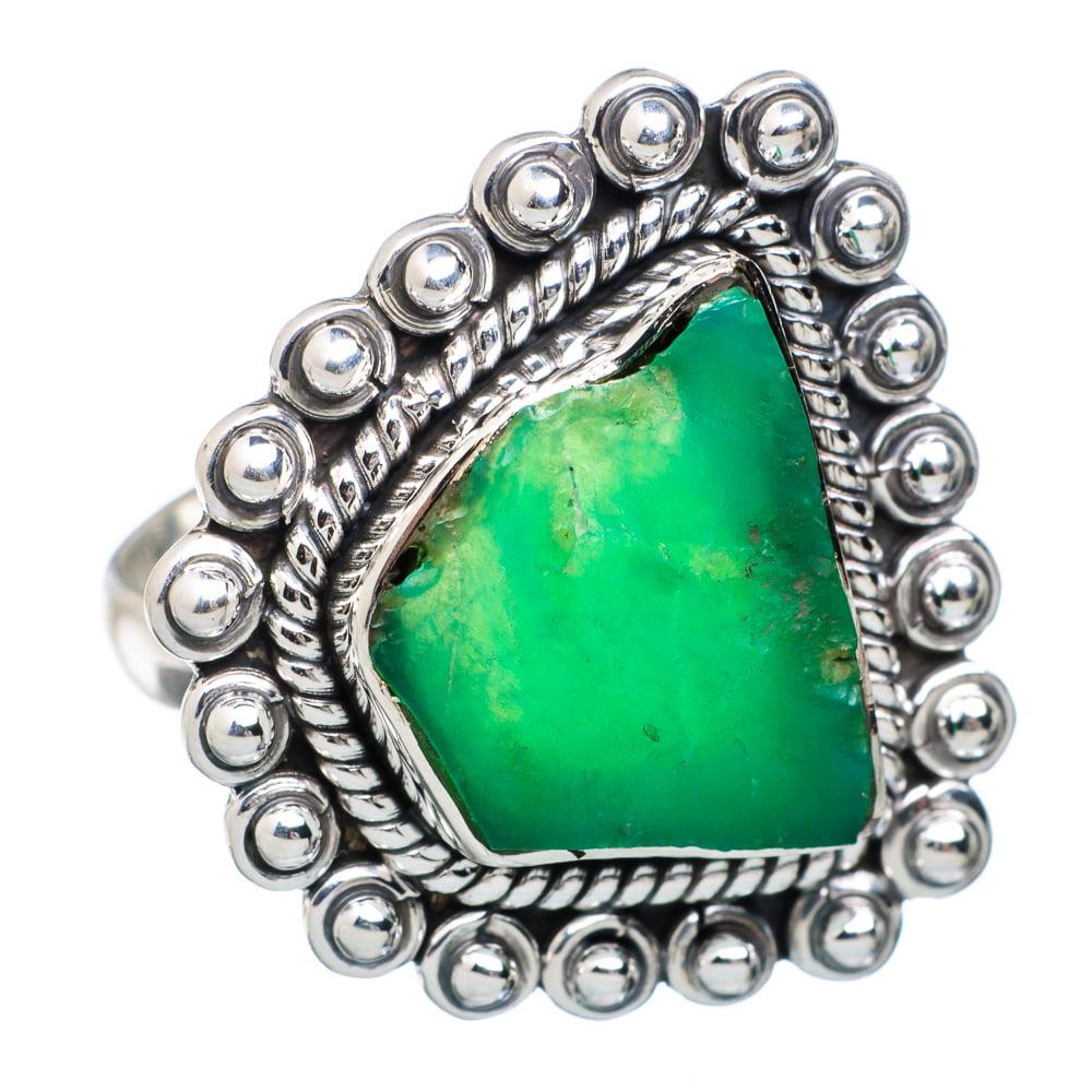 Ana Silver Co Rough Chrysoprase Ring Size 9 (925 Sterling Silver) Handmade Jewelry RING876009 by Ana Silver Co.