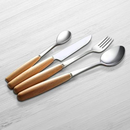 16 Piece Flatware Set Wooden Handle Stainless Steel Tableware Silverware Dinnerware Mirror Polished Utensils Pcs Service For 4