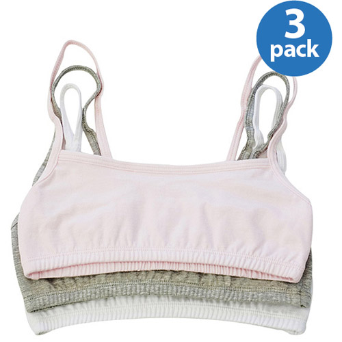Fruit Of The Loom Girls' 3 Pack Assorted Spaghetti-Strap Sport Bras