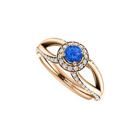 Halo Design - Sapphire and CZ Accented Open Leaf Design Halo Ring