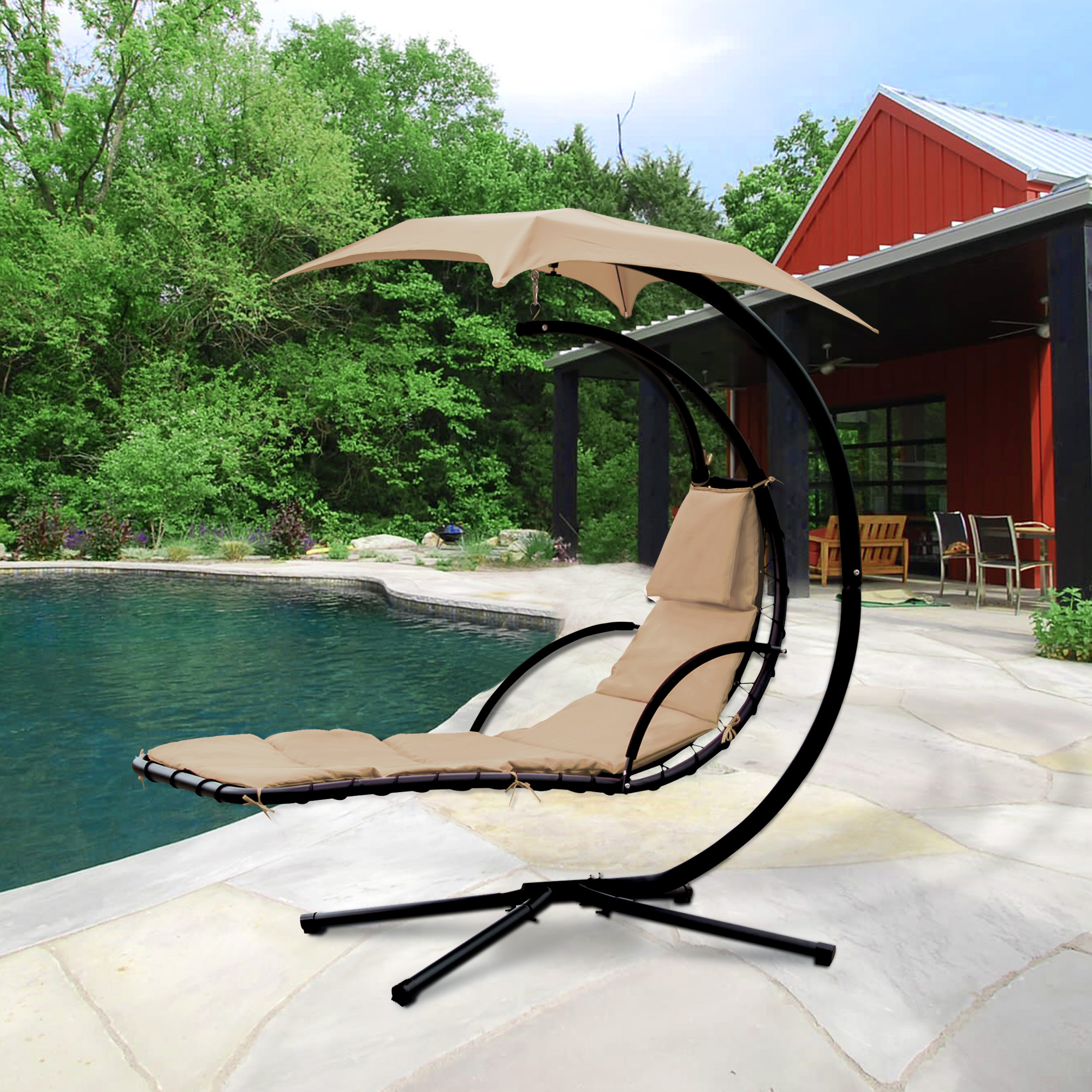 Cloud Mountain Hanging Chaise Lounger Chair Air Porch Floating Swing  Hammock Chair With Arc Stand And
