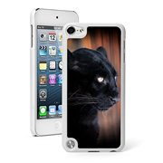 For Apple iPod Touch 5th / 6th Generation Hard Back Case Cover Black Leopard Panther (White)