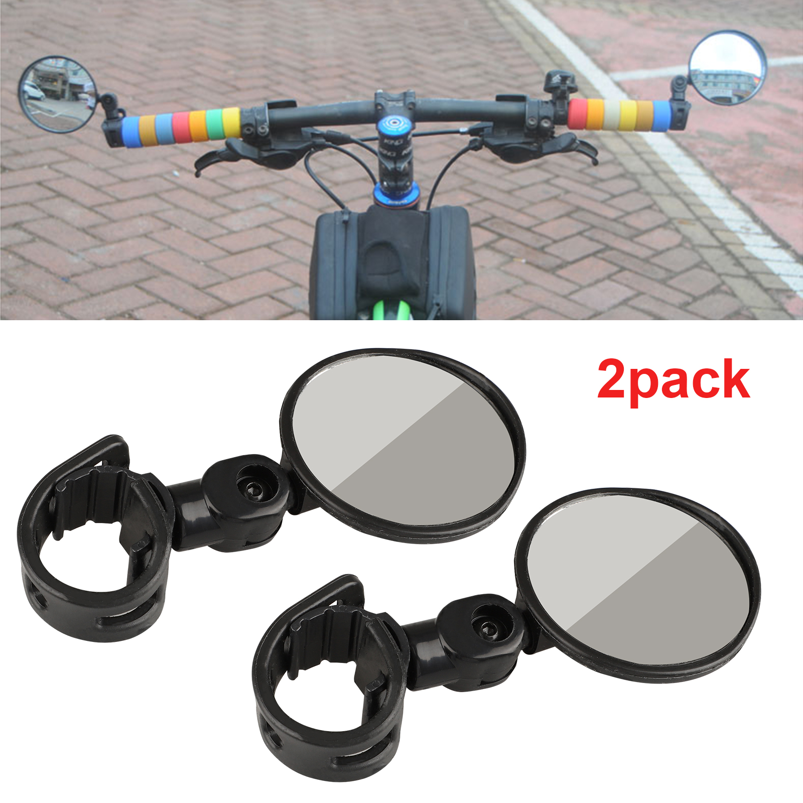 2Pcs 360° Rotate Adjustable Handlebar Rearview Mirror For Bike Bicycle Cycl RC