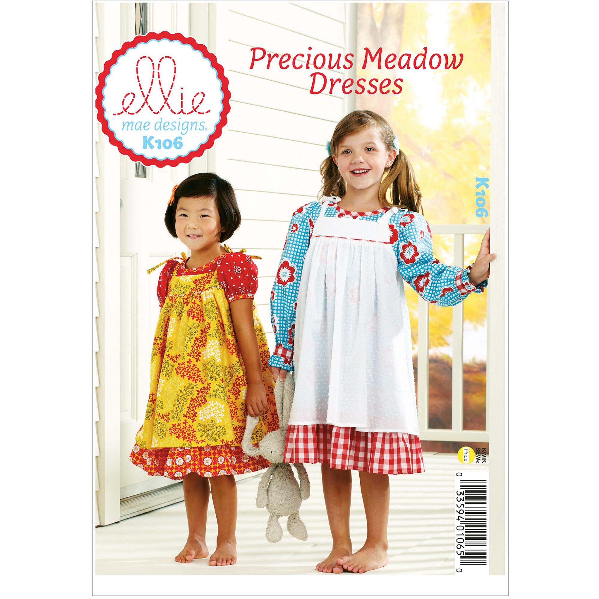 Kwik Sew Pattern Precious Meadow Dresses, XXS (3) XS (4, 5) S (6) M (7, 8) L (10)