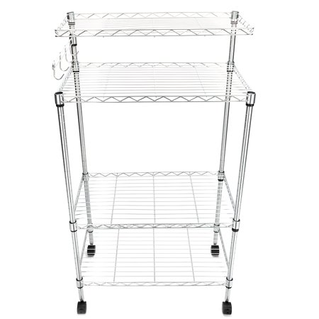 Clearance! Microwave Cart, SEGMART 4-Tier Kitchen Island On Wheels, Heavy Duty Storage Shelves with 3-Tier Shelves, 1 Top Shelf, Hanging Bar with 4 Hooks, Metal Bakers Rack Holds up to 176 lbs, Q1504 ()