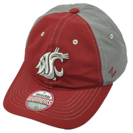 NCAA Zephyr Washington State Cougars Womens Hat Cap Burgundy Gray Adjustable - Fitted Zephyr College Cap