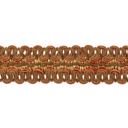 Vintage 2 Inch (5cm) Wide Copper, Olive Green, Light Gold Gimp Braid Trim - Rust 07 (Sold by The (Rust Olive)