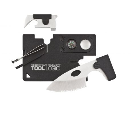"SOG Tool Logic, Credit Card Companion, With 2"" Stainless Blade, 8x Power Lens, a"