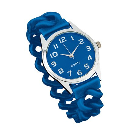 women's easy to read silicone stretch band watch royal blue, one size fits all, royal blue