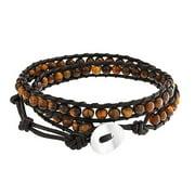 Brown Tiger Eye Genuine Black Brown Leather Strand Double Wrap Bracelet for Women for Men
