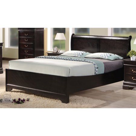 Best Quality Furniture Cappuccino Color Panel Bed, Multiple