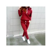 MarinaVida Women's Hooded Solid Color Casual Suit Jacket + Pants Autumn and Winter Two-piece