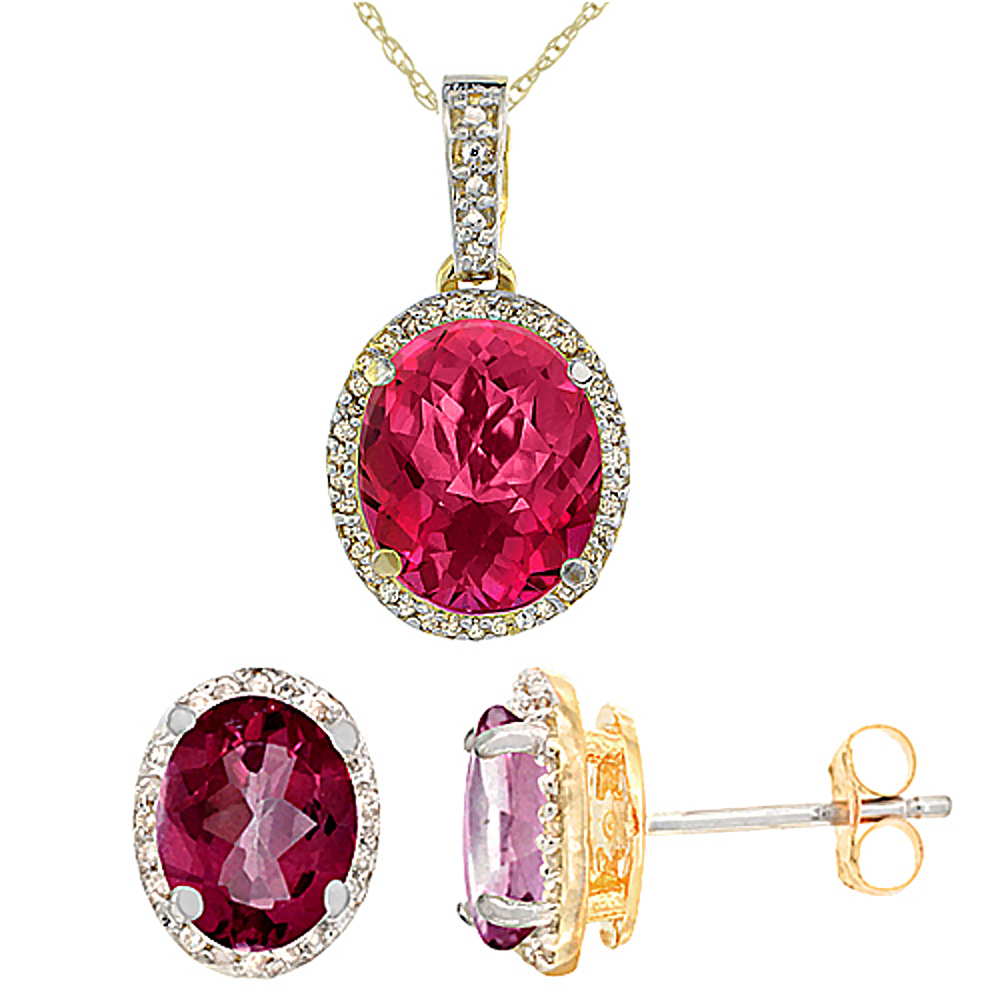 10K Yellow Gold Natural Oval Pink Topaz Earrings & Pendant Set Diamond Accents by WorldJewels