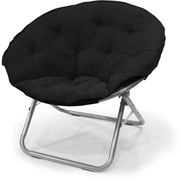 Mainstays Large Super Soft Microsuede Saucer Chair, Black, 30""
