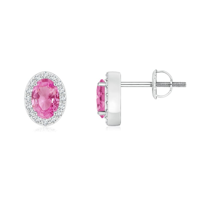Angara Pink Sapphire Earrings in Yellow Gold with Screw Back