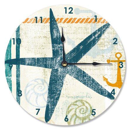 The Stupell Home Decor Collection 12 in. Beach Theme Starfish Vanity Clock (Theme Beach)
