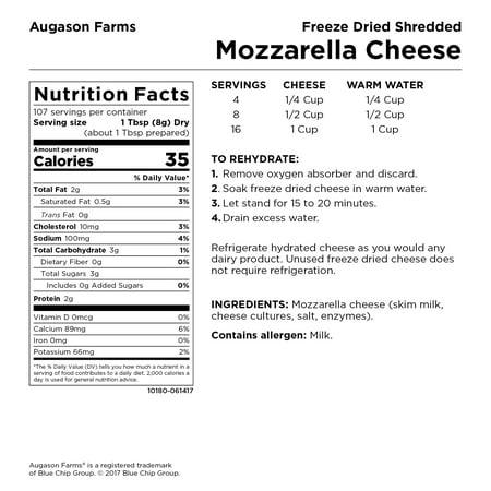 Augason Farms Freeze Dried Shredded Mozzarella Cheese No  10