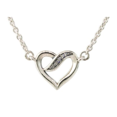 - Authentic Ribbons of Love Pendant Necklace, Clear CZ 590535CZ-45 Adjustable