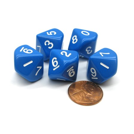 Koplow Games Set of 5 D10 10-Sided 16mm Opaque RPG Dice - Blue with White Numbers #02625