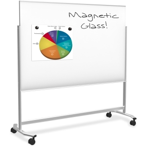 74951 4X6FT VISIONARY MOVE MOBILE MAGNETIC GLASS WHITEBOARD
