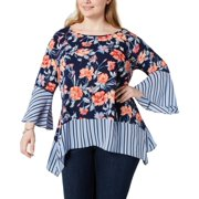 Womens Blouse Plus Bell-Sleeve Floral Print 3X