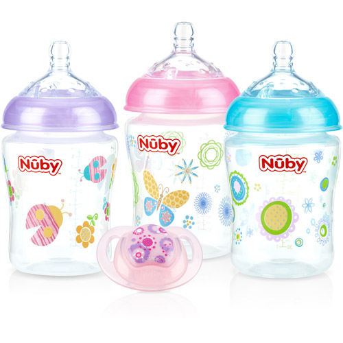 Nuby 3-Pack Natural Touch 9-oz Printed Baby Bottles with Comfort Orthodontic Pacifier, Girl, BPA-Free