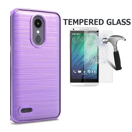 - LG Rebel 4 Case, LG (Rebel 4) 4G LTE Case,  AT&T Prepaid LG Phoenix 4 Case, Phone Case for Straight Talk LG Rebel 4 Prepaid Smartphone, Dual Layer Chrome Edge TPU Cover and Brushed Style Case (Purple)