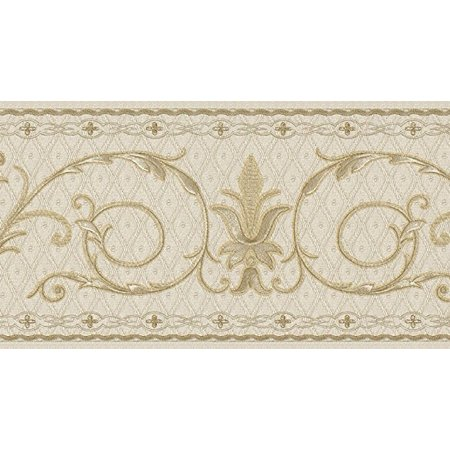 879078 Tufted Gold on Cream Scroll Wallpaper Border