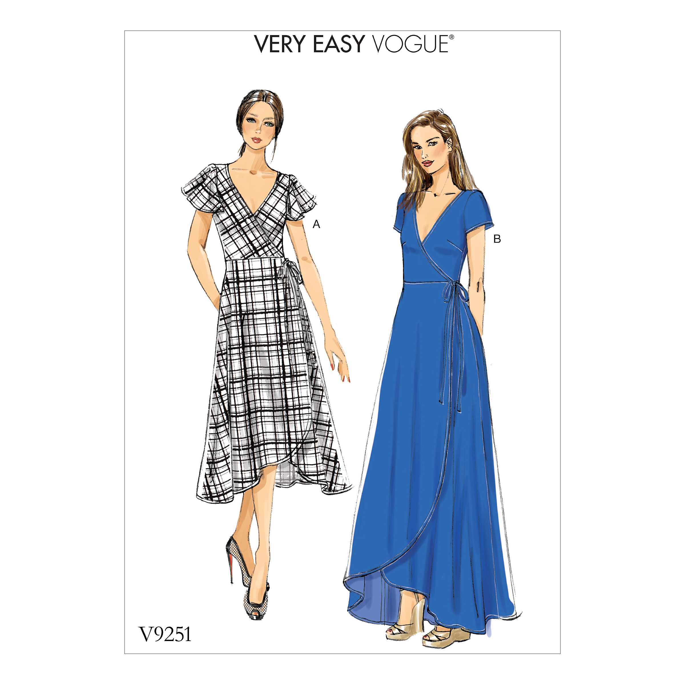 Vogue Patterns Sewing Pattern Misses' Wrap Dresses with Ties, Sleeve and Length Variations-16-18-20-22-24