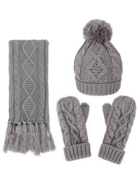 ANDORRA - 3 in 1 - Soft Warm Thick Cable Knitted Beanie Scarf & Gloves Winter Set,Grey
