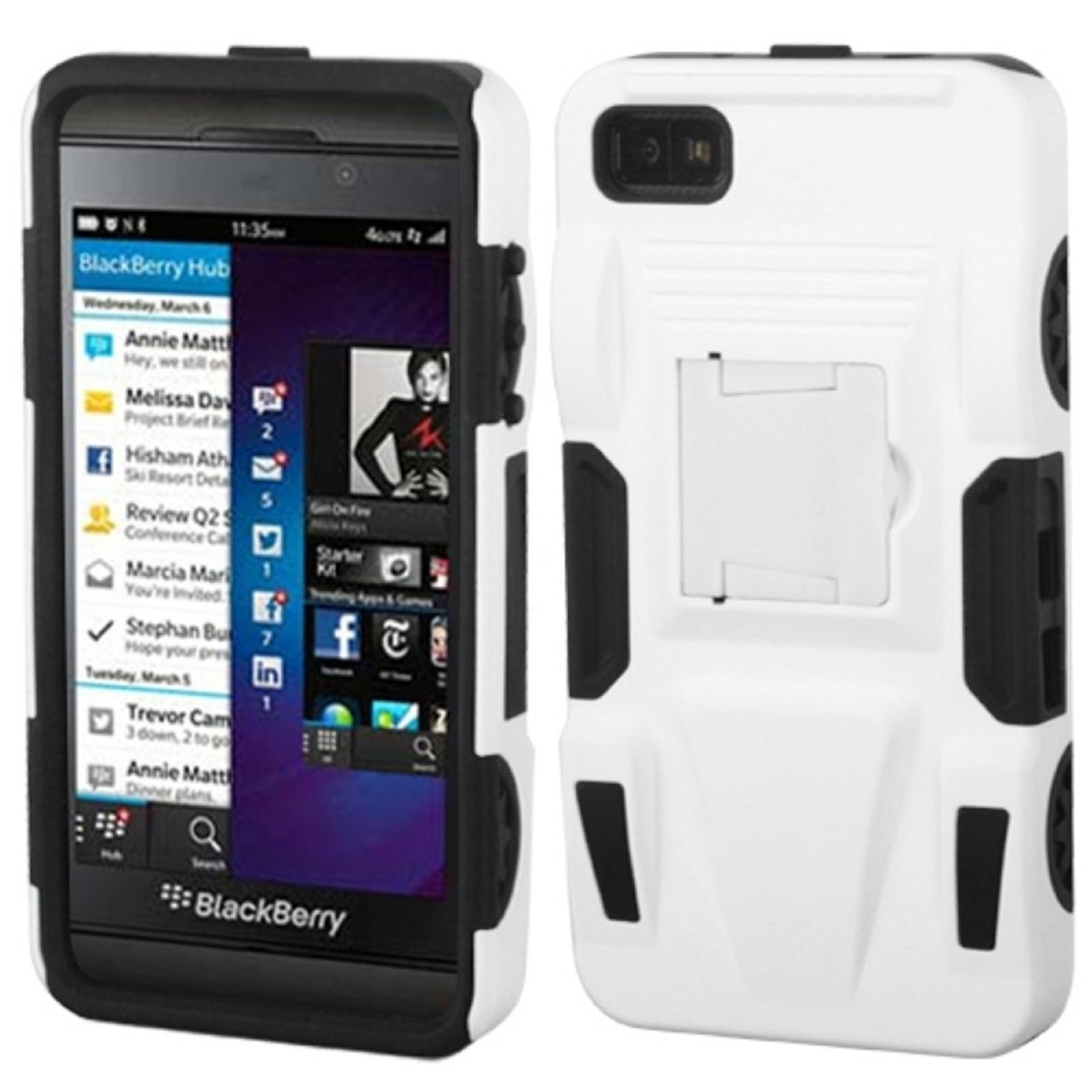 Insten White/Black Advanced Armor Stand Case (Rubberized) for BLACKBERRY: Z10