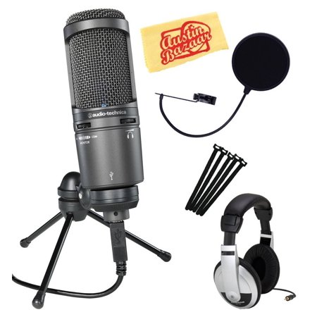 Audio-Technica AT2020USB+ Cardioid Condenser USB Microphone Bundle with Gearlux Pop Filter, Velcro Ties, Headphones, and Austin Bazaar Polishing Cloth