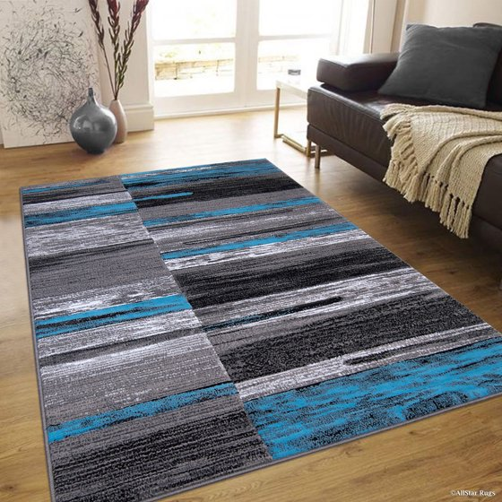 Blue Allstar Modern Contemporary Woven Area Rug Drop Stitch Weave Technique Carved
