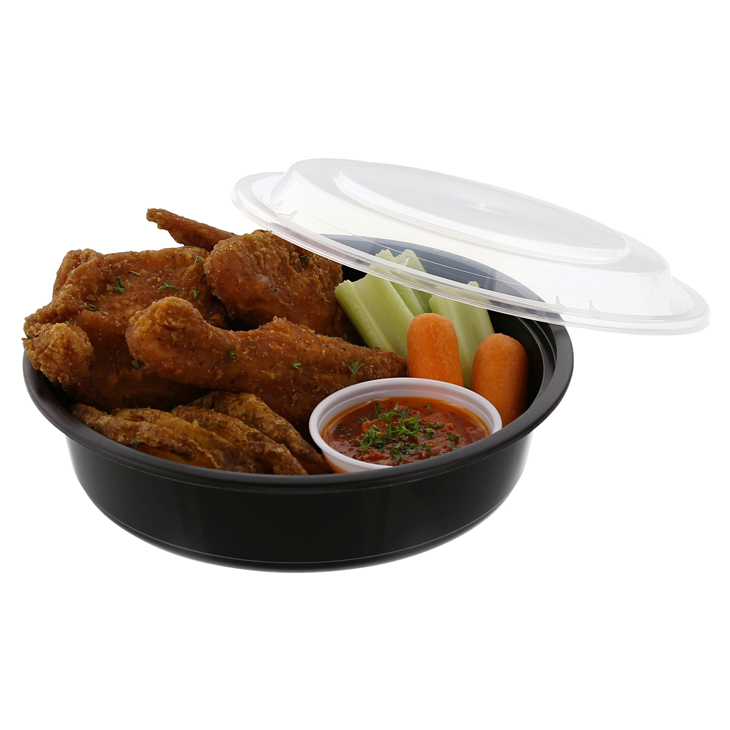 "Tripak Premium 7"" Round Black Plastic Container with Lid,..."