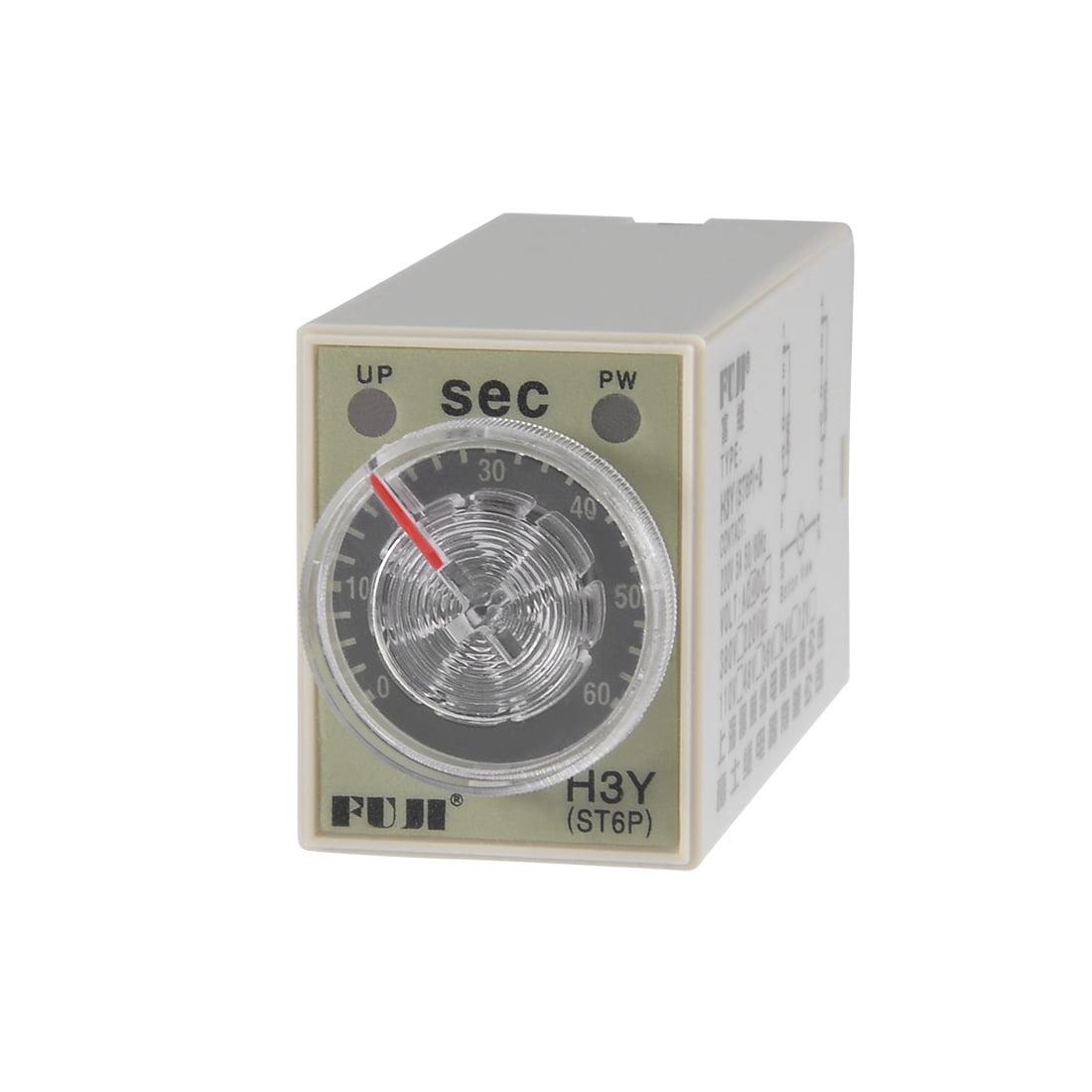 220VAC 60S 8 Terminals Range Adjustable Delay Timer Time Relay H3Y-2 w base - image 1 of 6