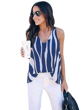 Striped  Shirts for Women Casual V Neck Blouse High Low Tops Summer Sleeveless Vest Loose Cami Tank Top Classic Shirt
