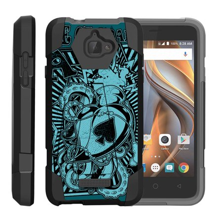 Ace Silicone (TurtleArmor ® | For Coolpad Catalyst 3622A [Dynamic Shell] Dual Layer Hybrid Silicone Hard Shell Kickstand Case - Ace of Spades)