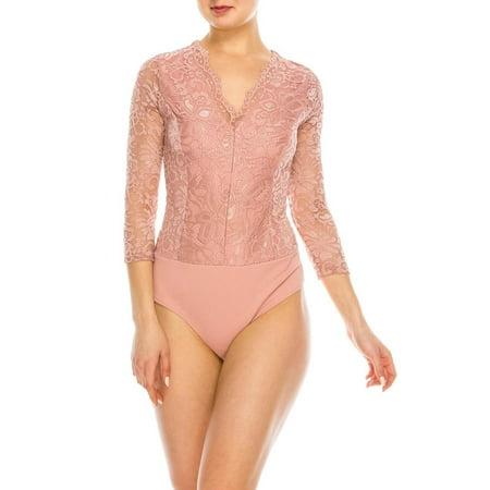 Salt Tree Women's Long Sleeves V-neck Lace Snapped Bottom Fit Bodysuit